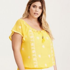 Torrid yellow embroidered smock blouse